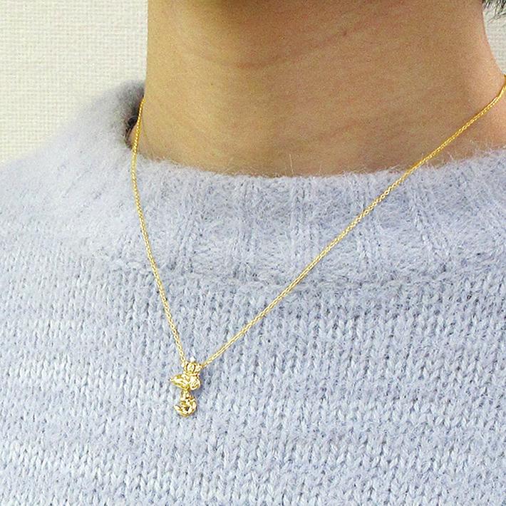 スヌーピー 18金 ネックレス ダイヤ