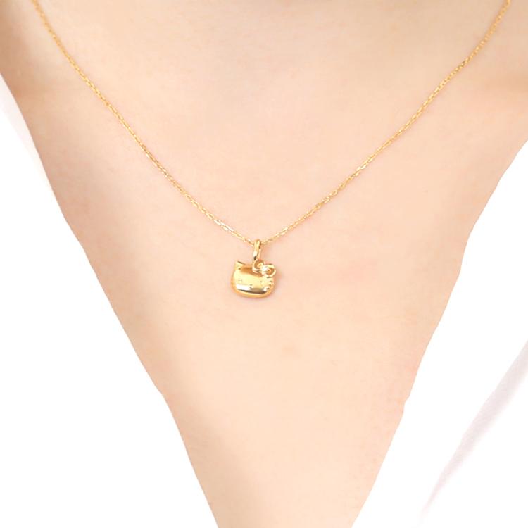 ハローキティ 18金 ダイヤ ネックレス K18 大人 女性 ジュエリー