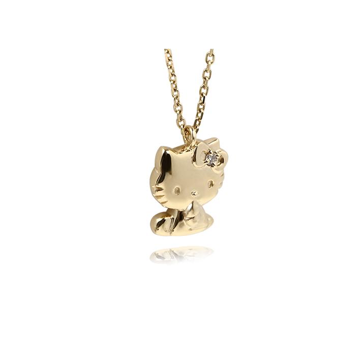 ハローキティ 18金 ネックレス  ダイヤモンド ペンダント キティ ファン への プレゼント に