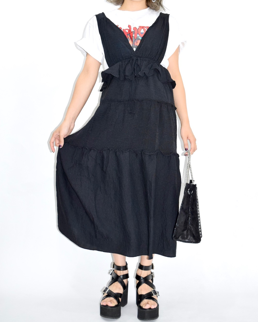 Frill Tiered Black Long Jumper Skirt