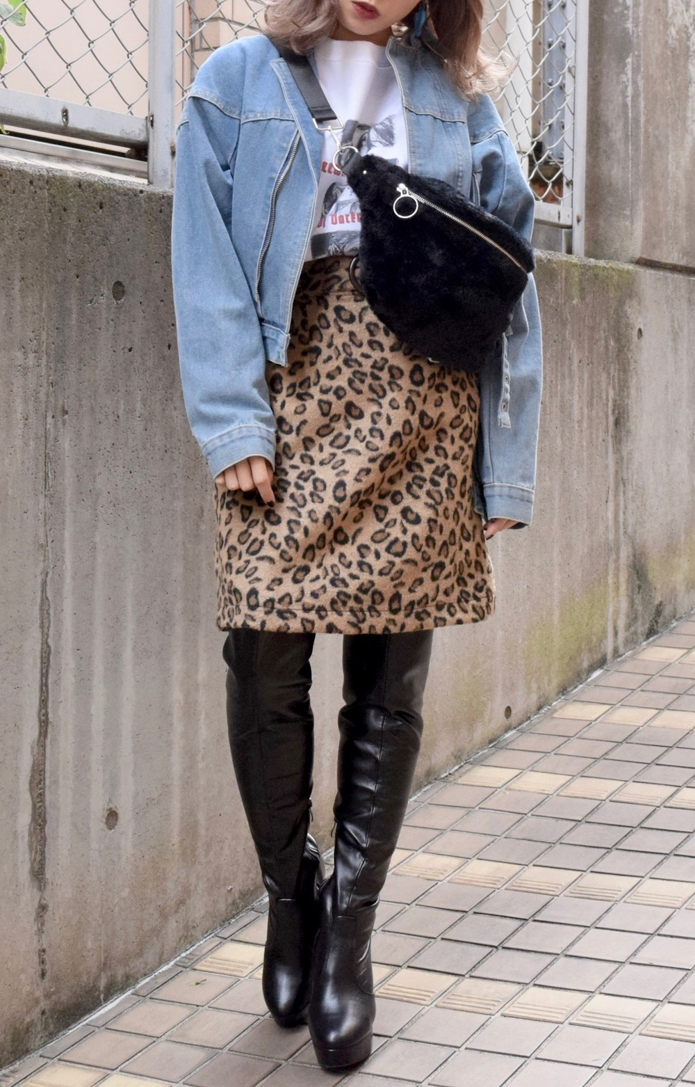 LEOPARD A-LINE SKIRT *with Ring Belt