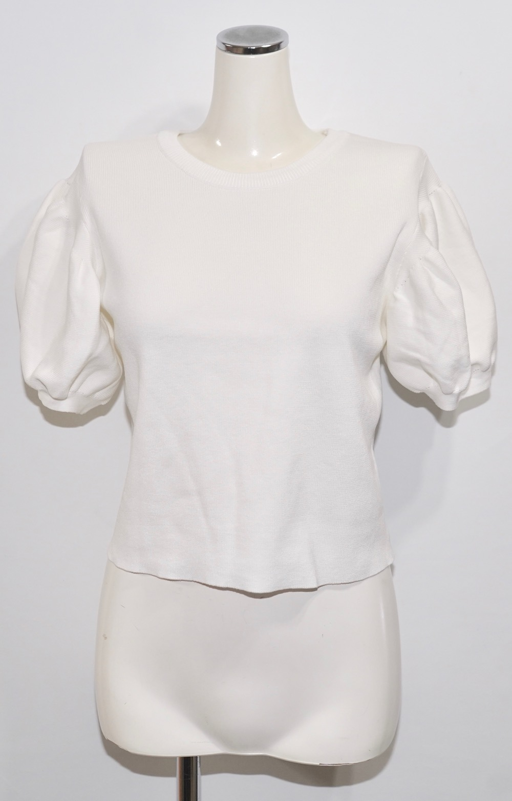Basic Puffsleeve S/S Knit Tops (white)