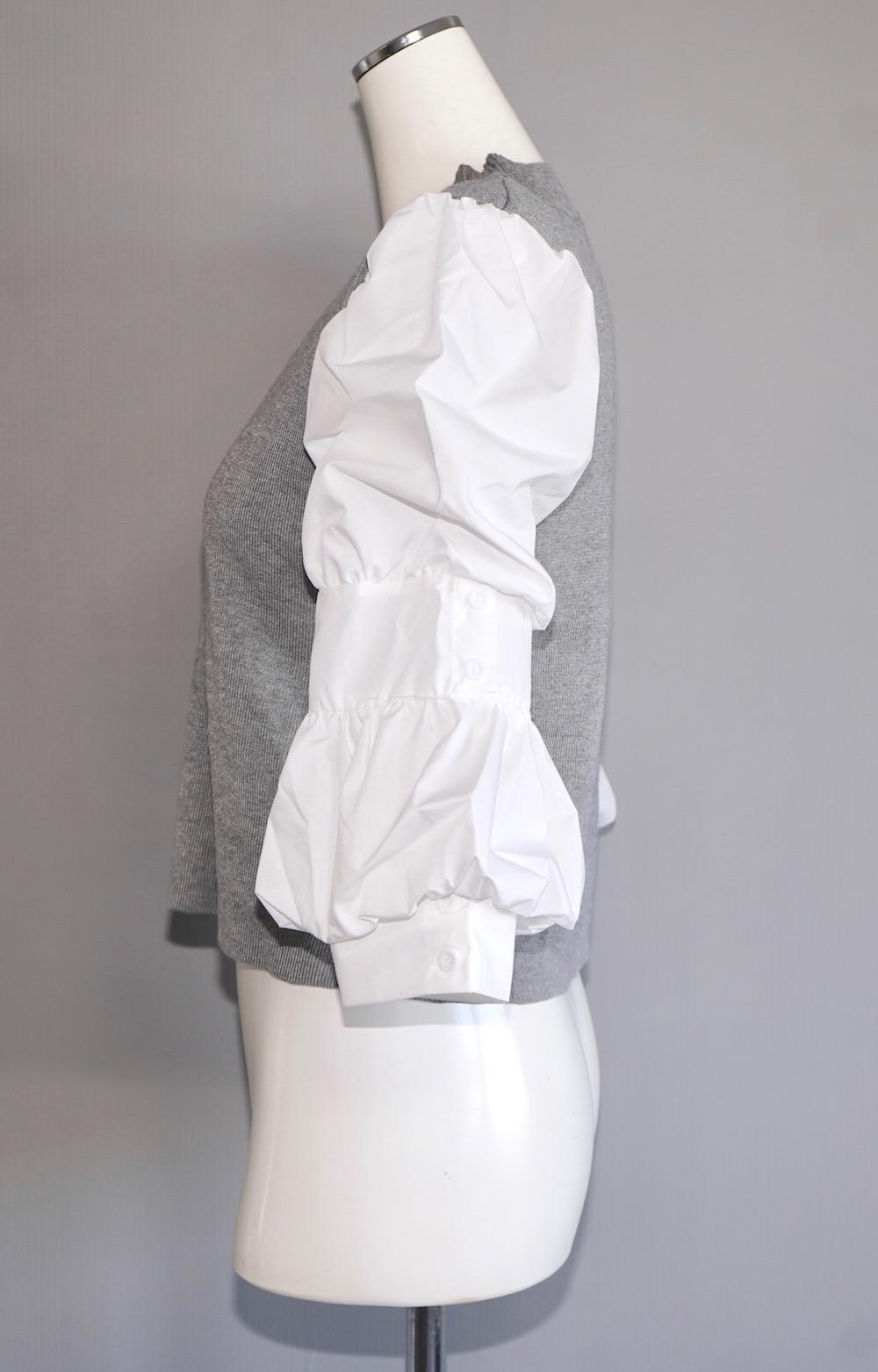 Puff Sleeve Blouse Docking Tops (light gray)