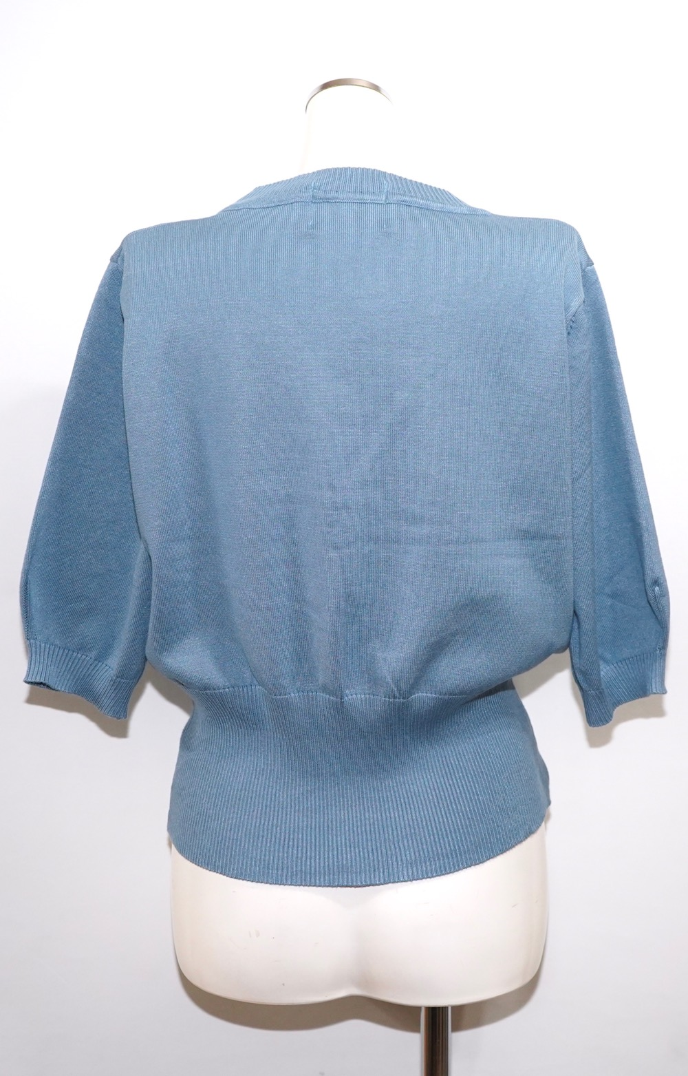 Puff Sleeve Knit Tops (baby blue)