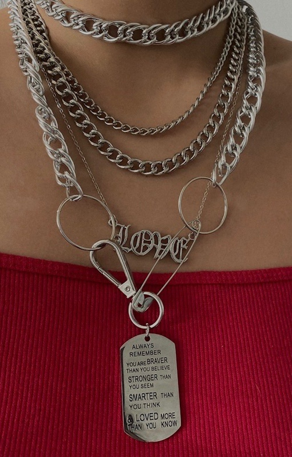 """LOVE"" Old English Necklace (silver)"