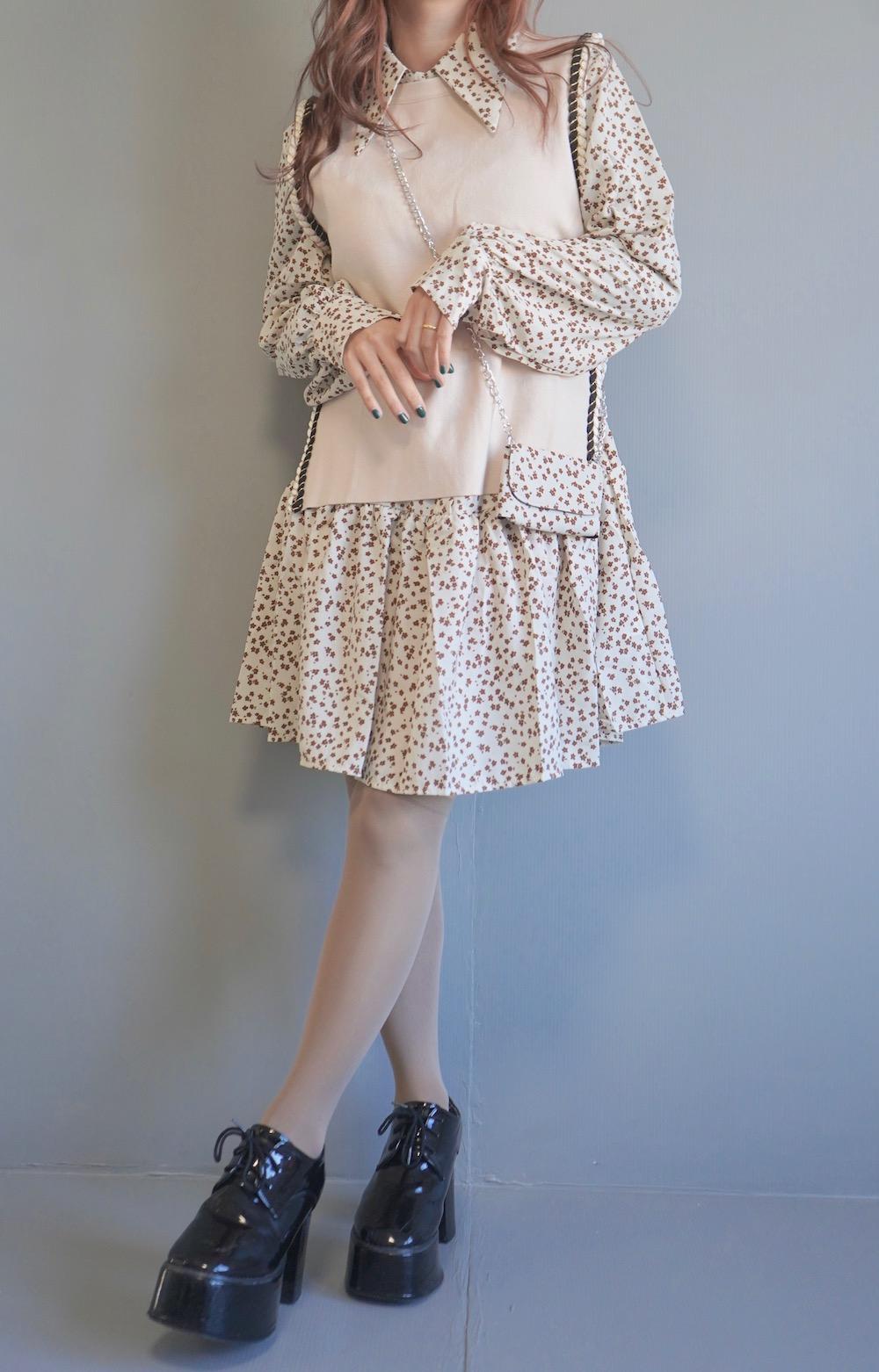(Flower Onepiece + Vest + Mini Bag) 3P SET - Beige