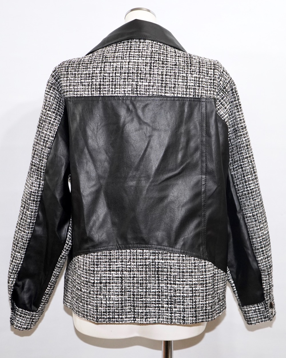 Oversized Tweed Switching Riders Jacket (black)
