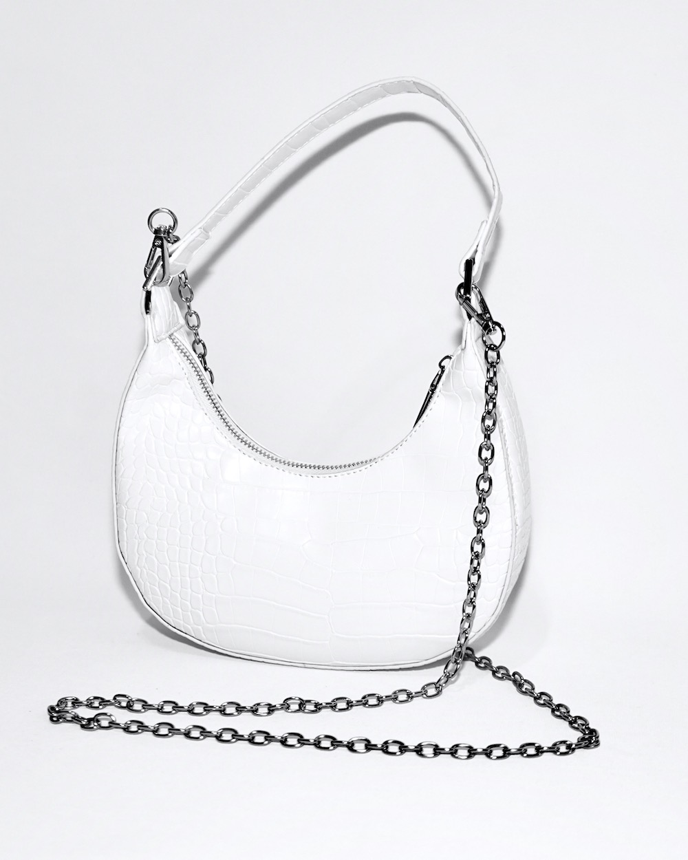 2way Crocodile Touch Half-moon Bag (white)