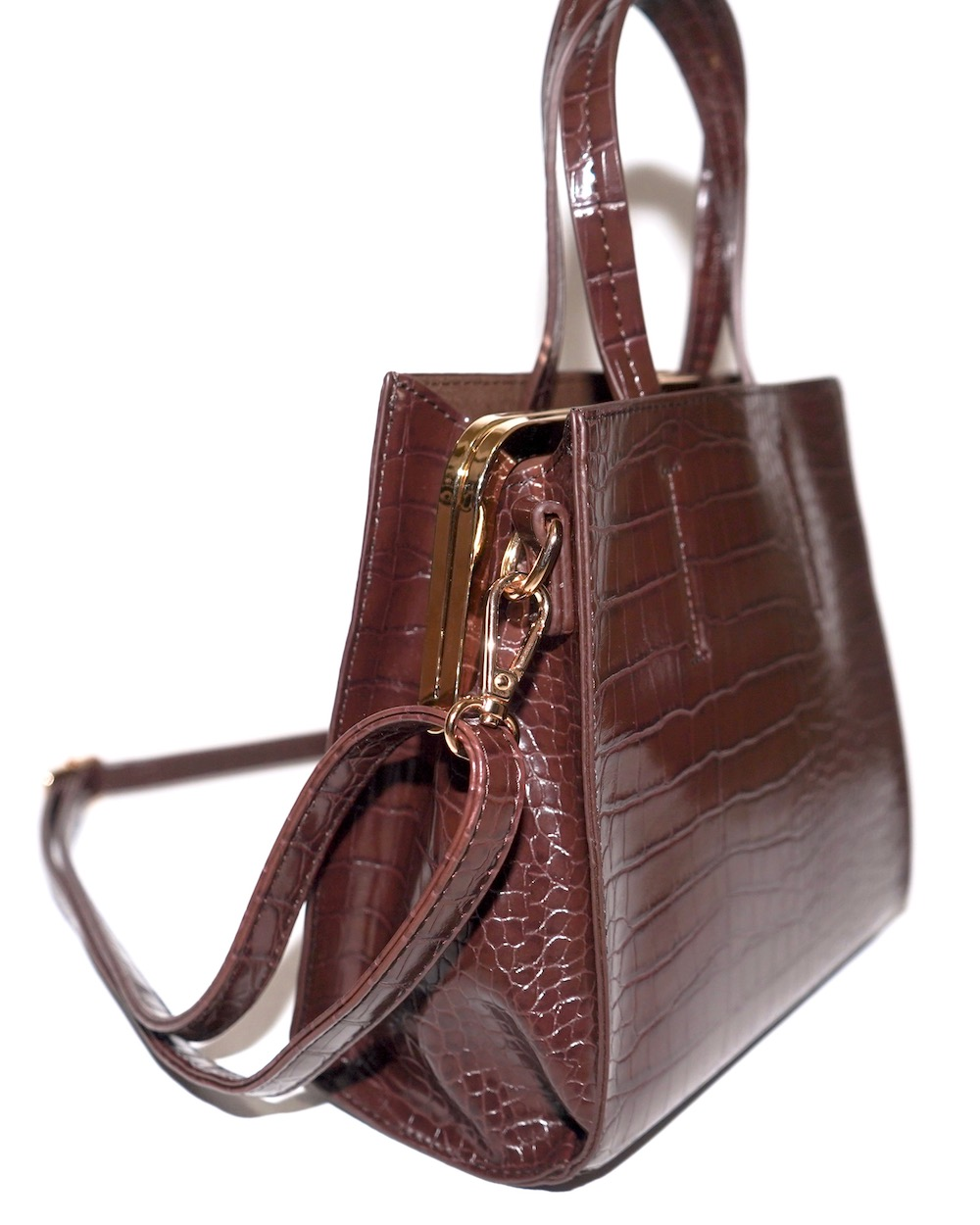Crocodile Touch Square Shoulder Bag (brown)