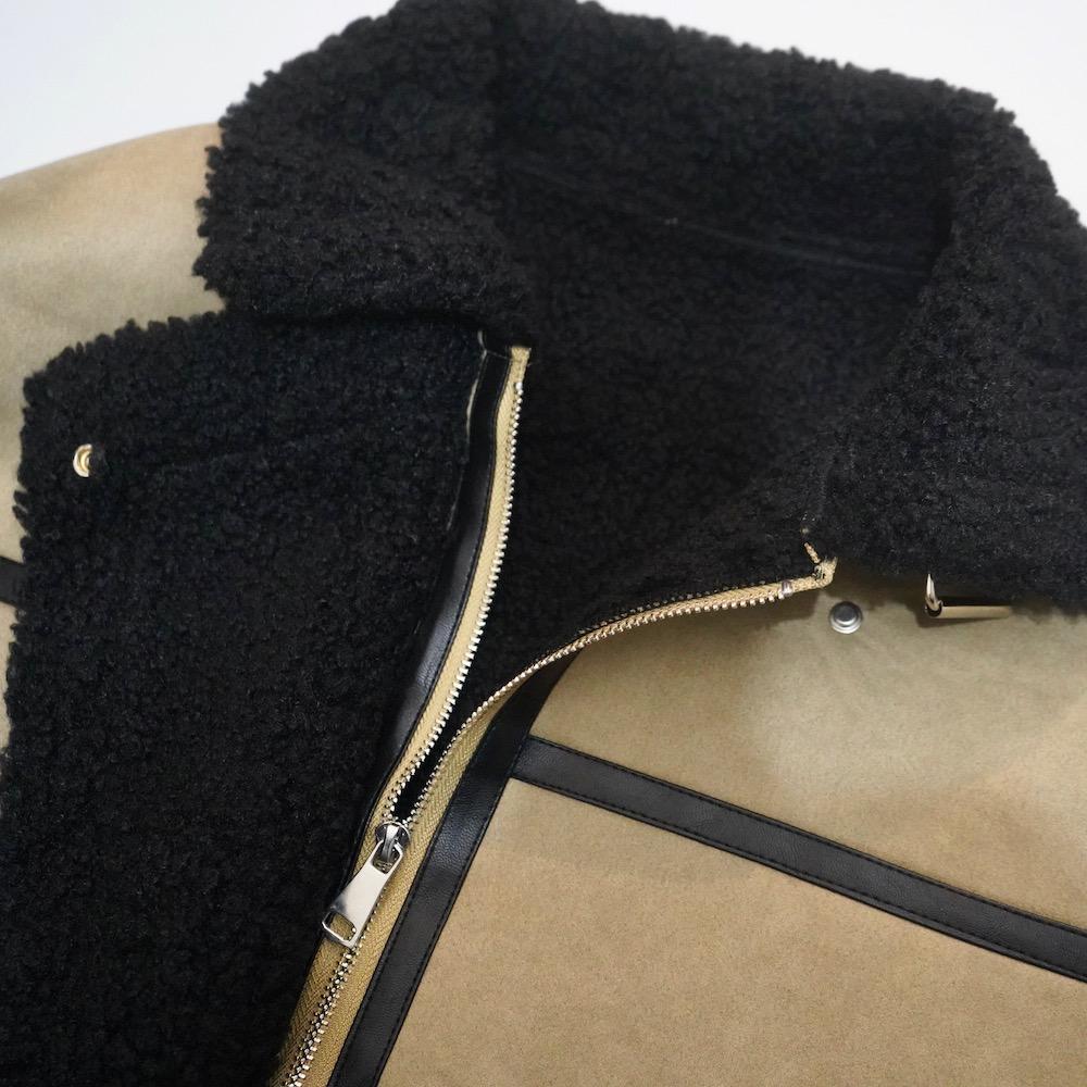 Oversized Mouton Boa B-3 Jacket (beige/black)