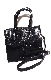 Crocodile Touch Square Shoulder Bag  (black)
