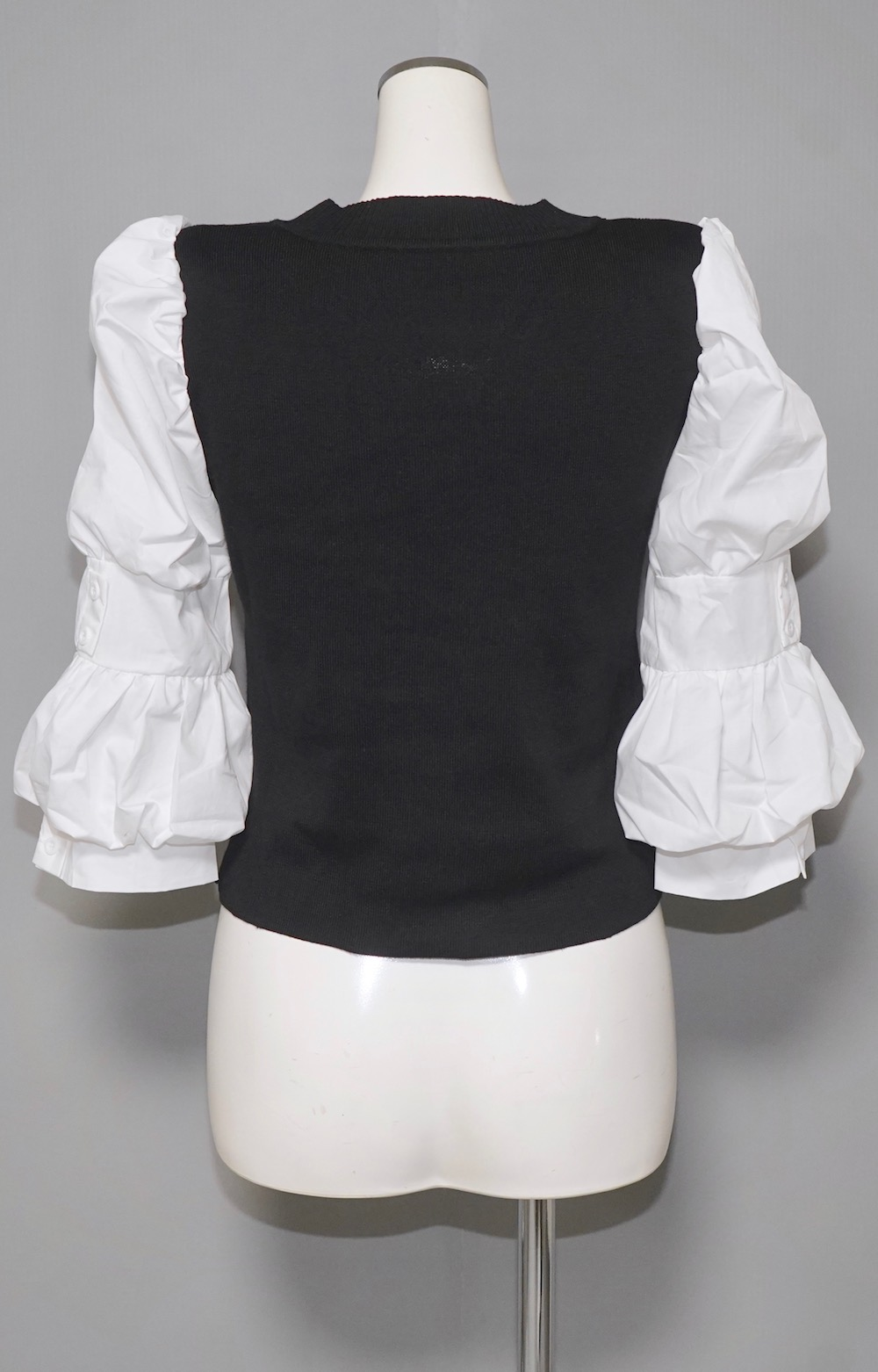 Puff Sleeve Blouse Docking Tops (black)