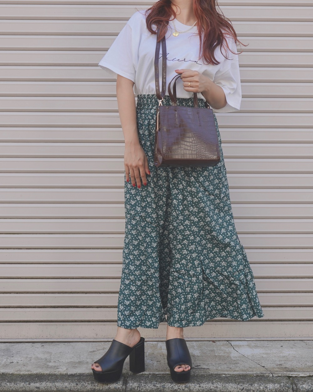 White Flower Long Flare Skirt (green)