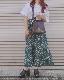 White Flower Long Flare Skirt (green)
