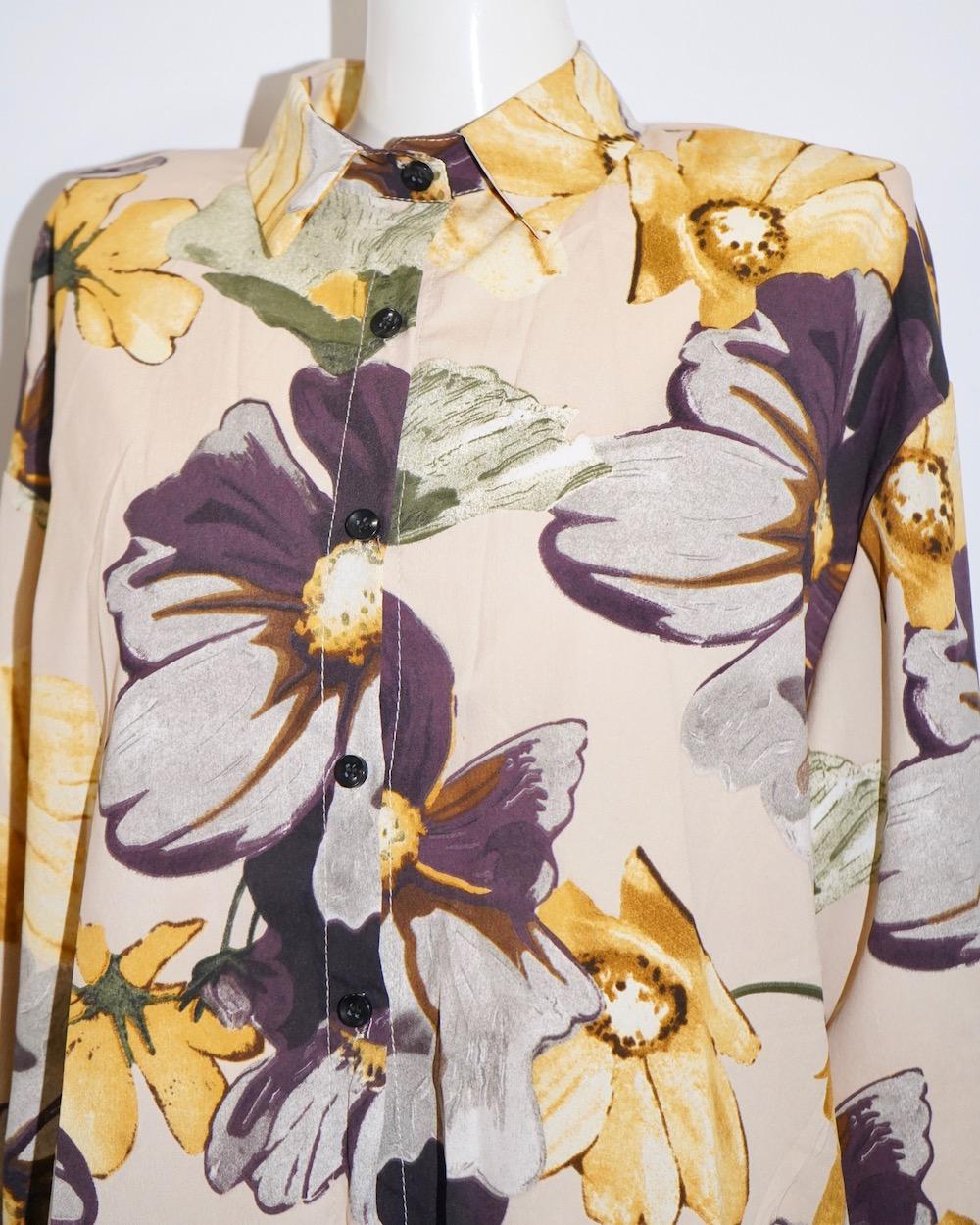Watercolor Flower Sheer Big Shirts (beige)