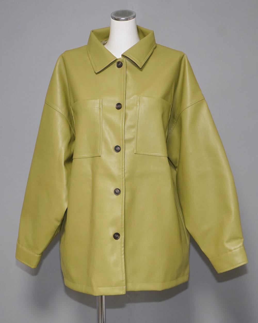 Eco Leather CPO Jacket (light green)