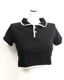 White Piping Cropped Polo Shirts (black)