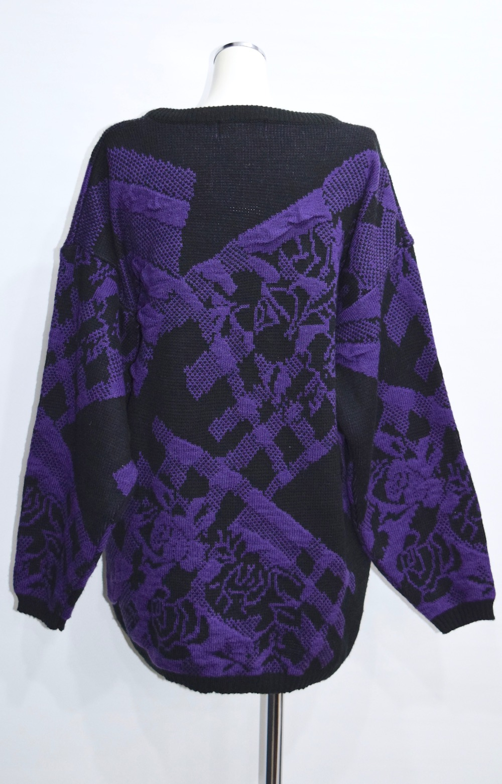 ROSE&CHECK KNIT ONE PIECE(purple)