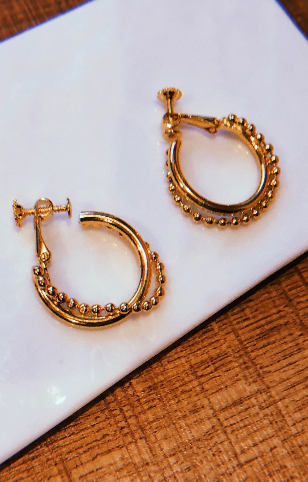 Chain&Ring Hoop Earrings (gold)