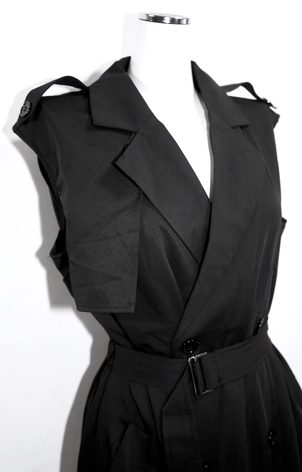 2way Trench Like Long Onepiece (black)