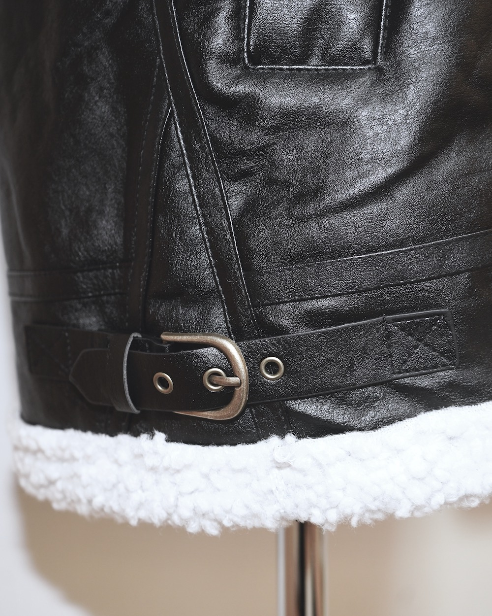 Leather Touch Boa B-3 Jacket Coat (black)