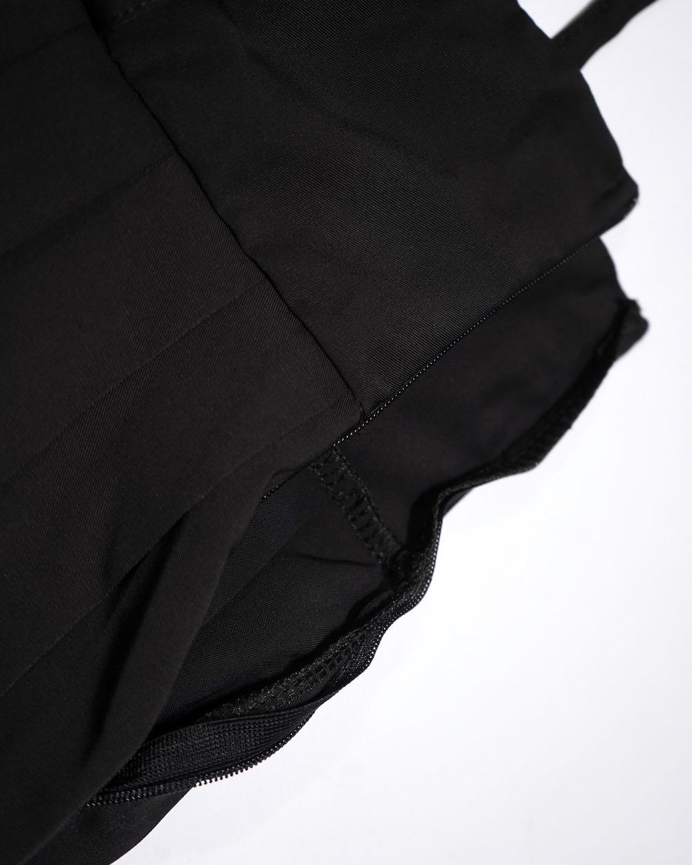 Pleats Flare Jumper Skirt *with Belt (black)