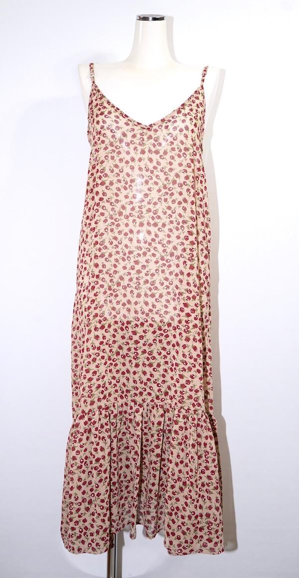 Red Flower Hem-Frill Cami-Onepiece (beige)