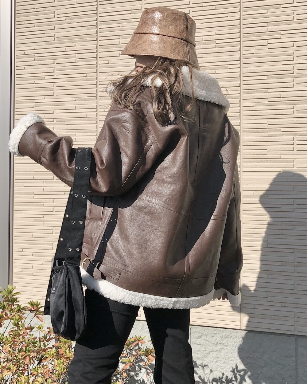 Leather Touch Boa B-3 Jacket Coat (brown)