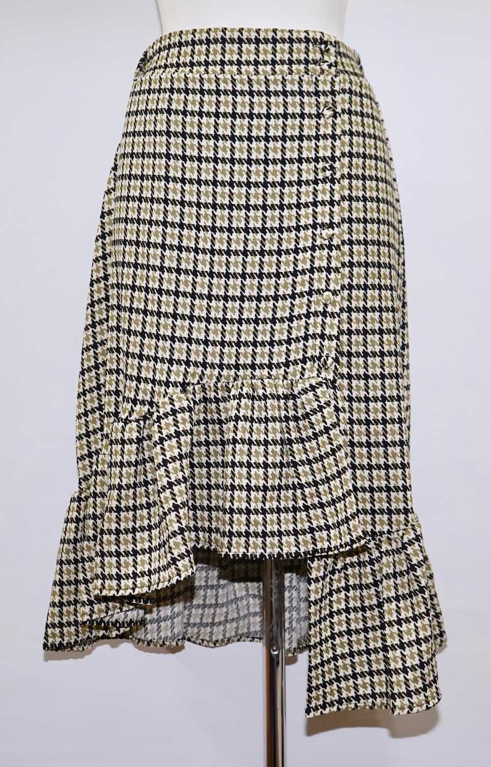 Gun Club Check Irregular Frill Skirt (green)