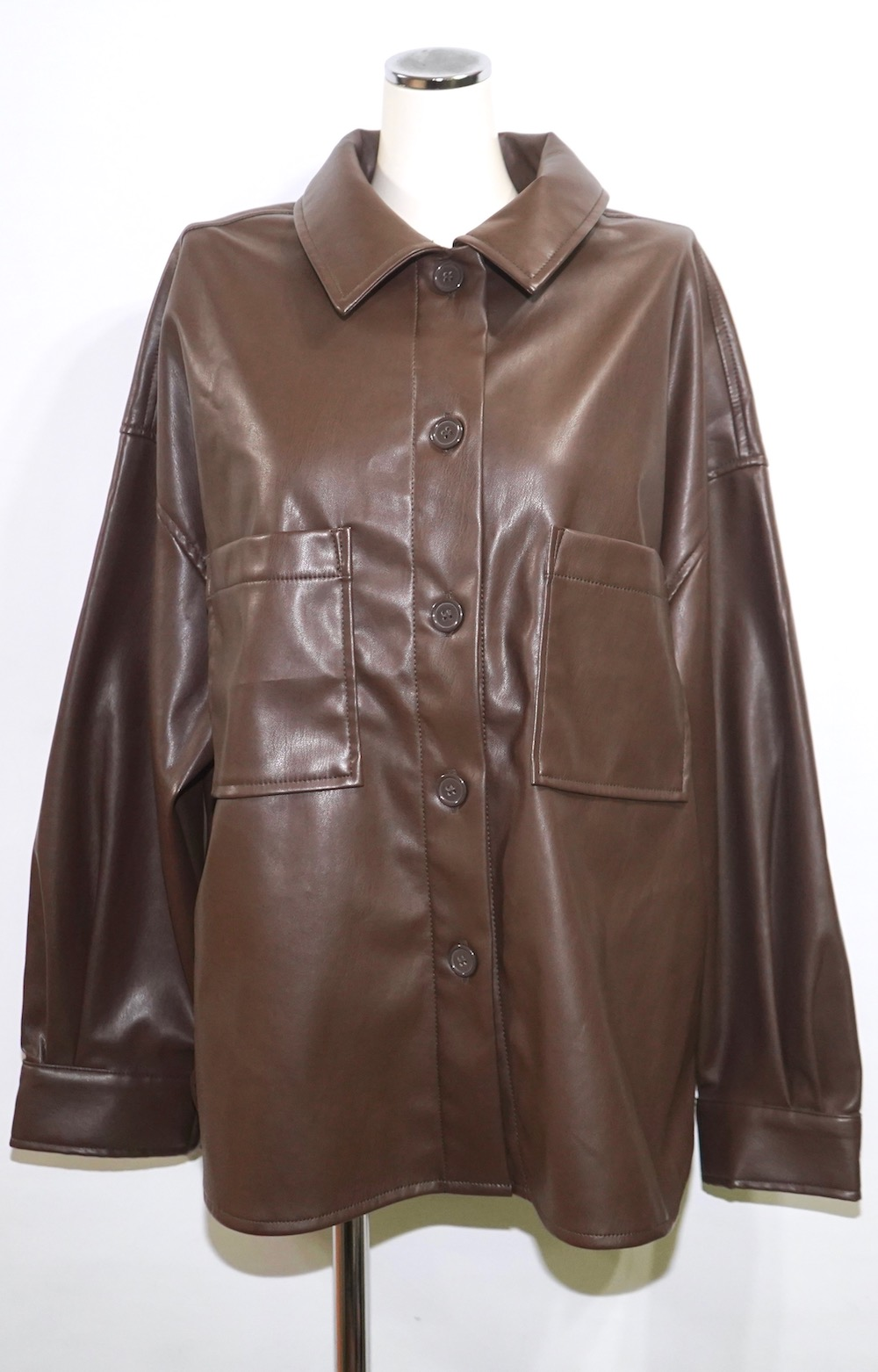 Leather Touch Big CPO Jacket (brown)