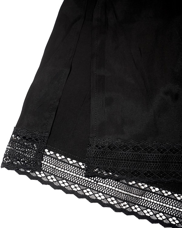 Lace Trim Flare Long Jumper Skirt (black)