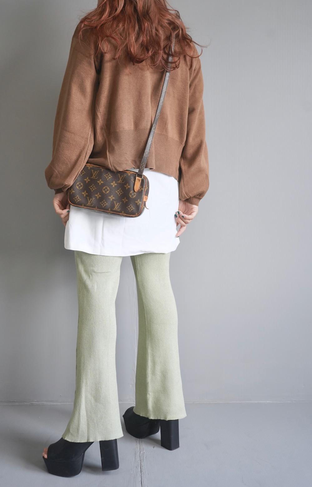 Balloon Sleeve V-Neck Knit Cardigan (brown)