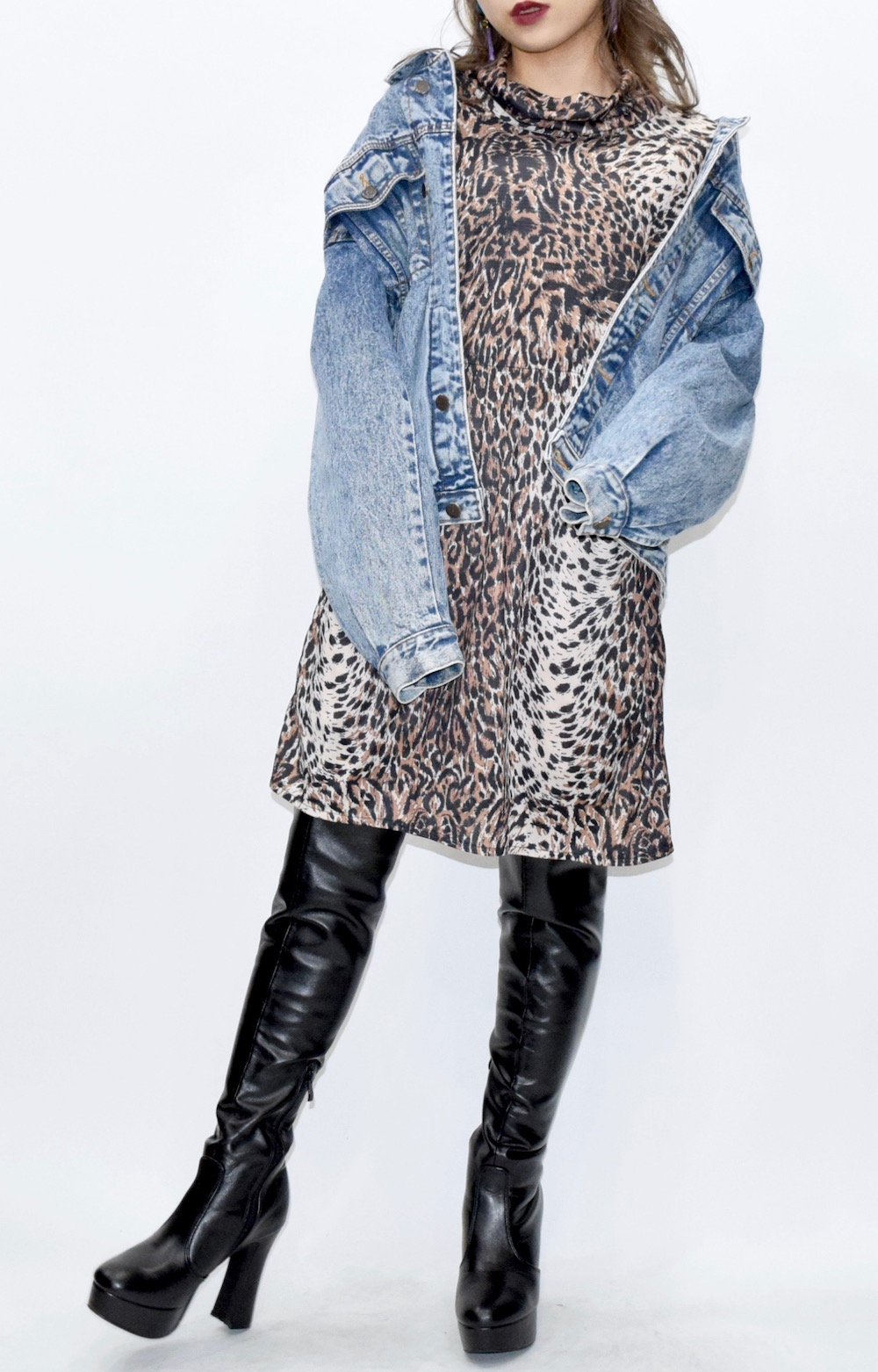 【WEB限定】Turtleneck Leopard Onepiece(BRN)