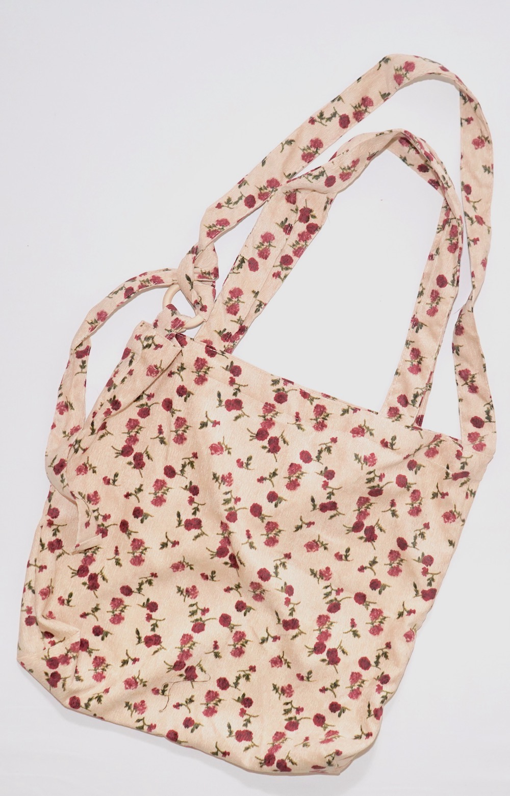 2way Red Flower Tote Bag (beige)