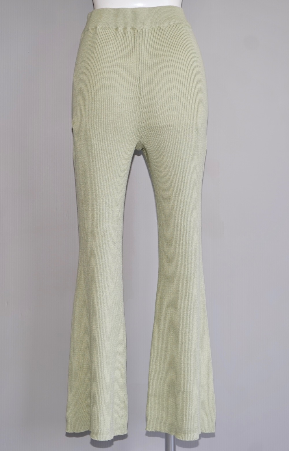Rib Flare Easy Pants (light green)