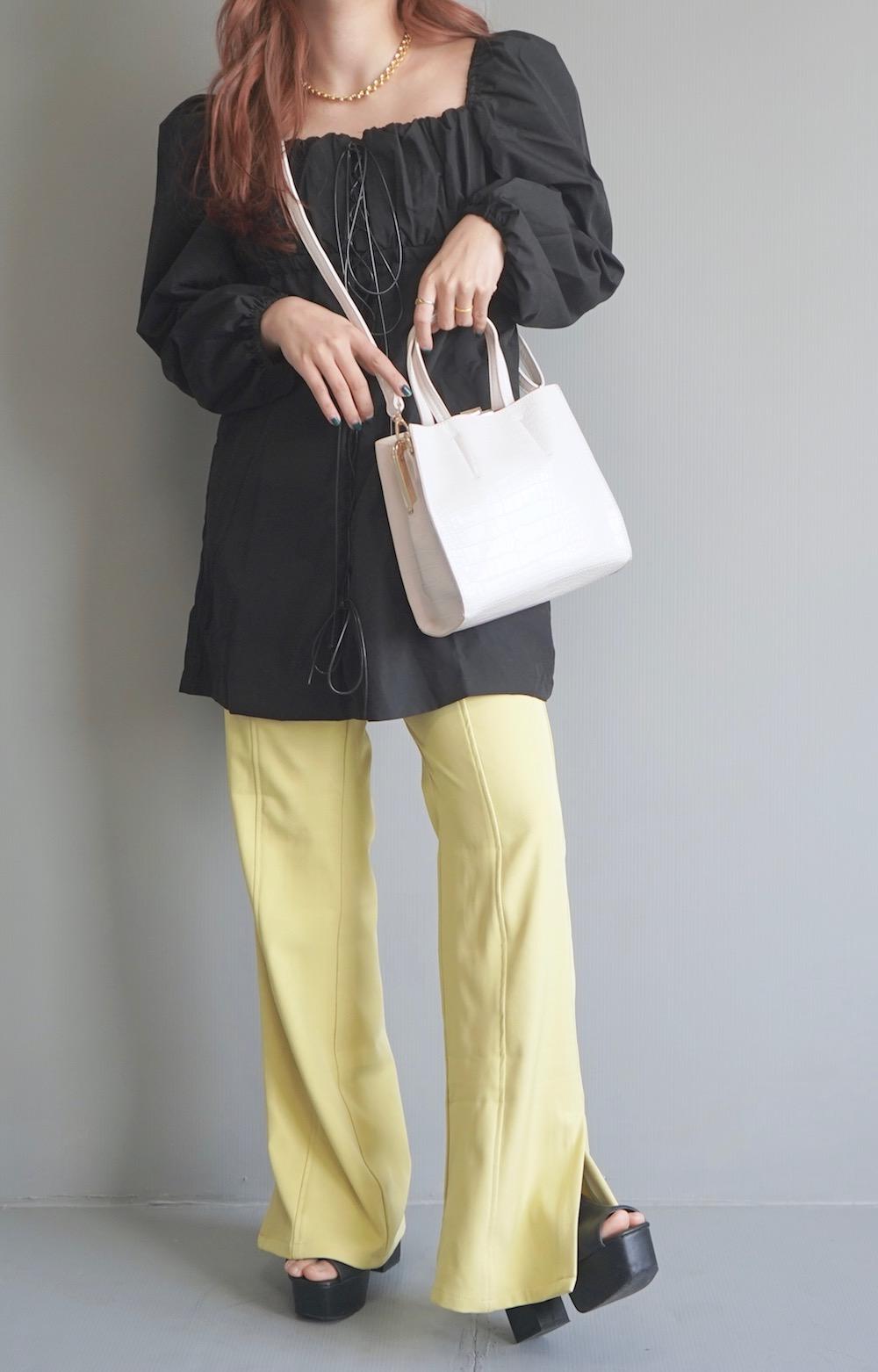 Center Seam Slit Flare Pants (Lemon yellow)