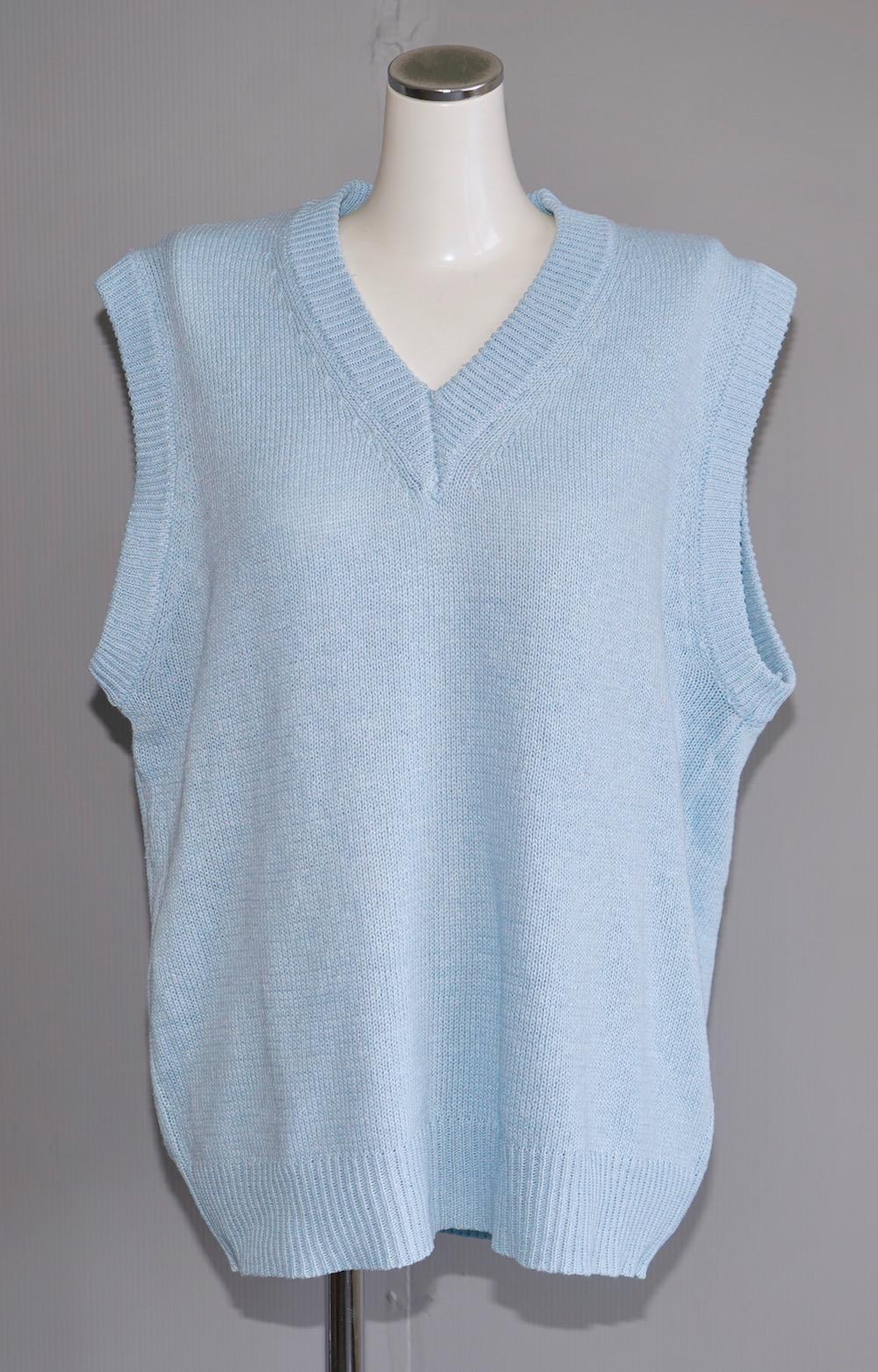 V-Neck Big Knit Vest (sky blue)