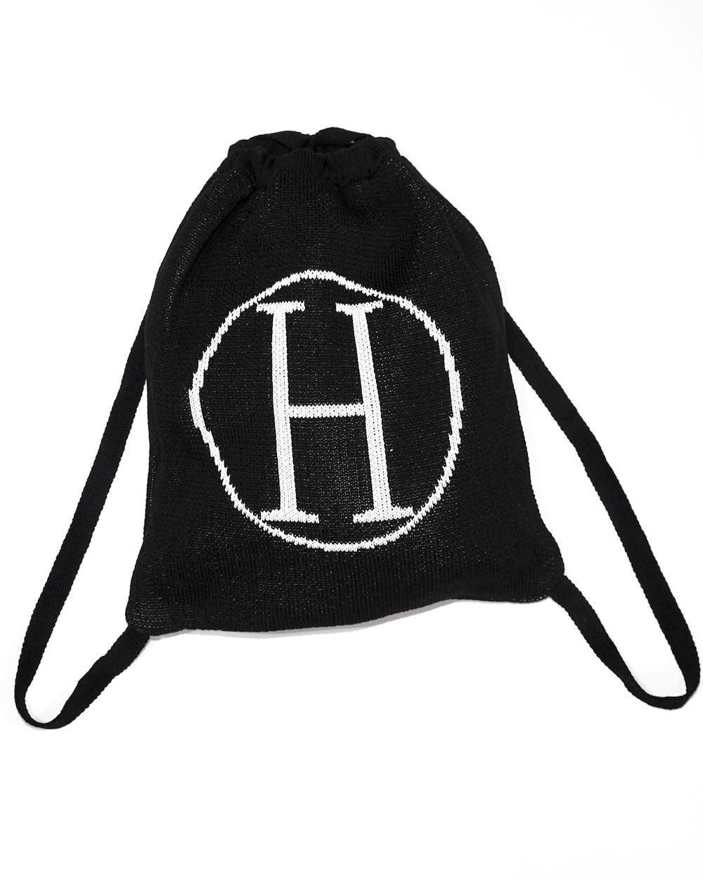 """H"" Logo Knit Knapsack (black)"