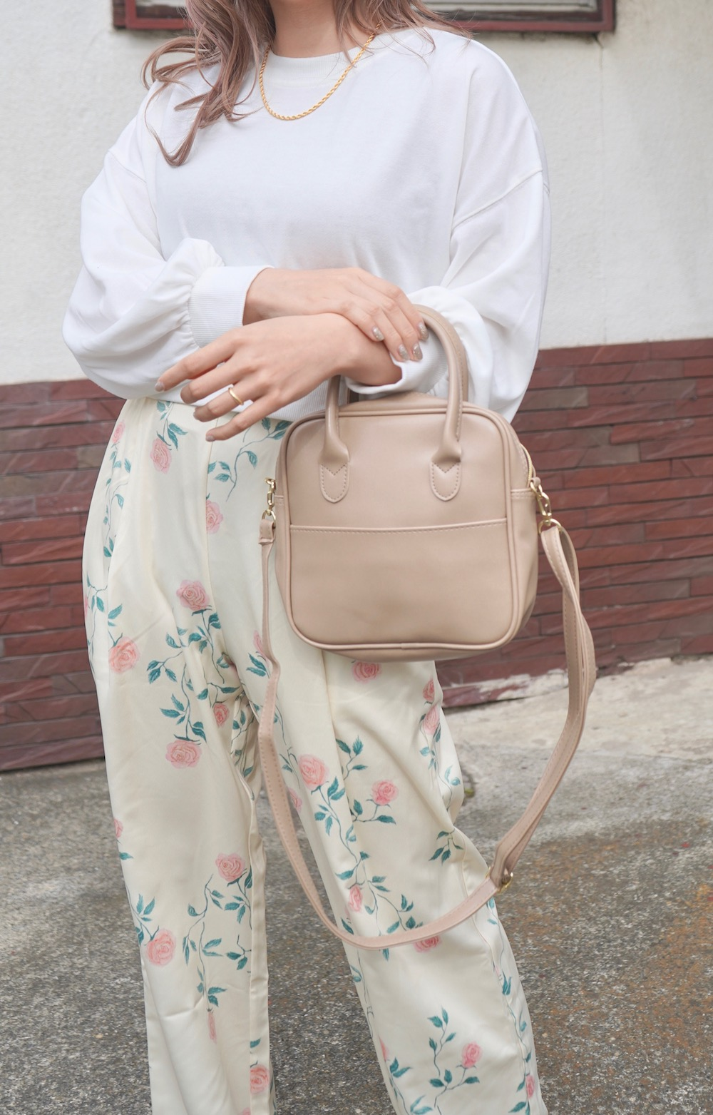 Handle&Shoulder 2way Square Bag (beige)