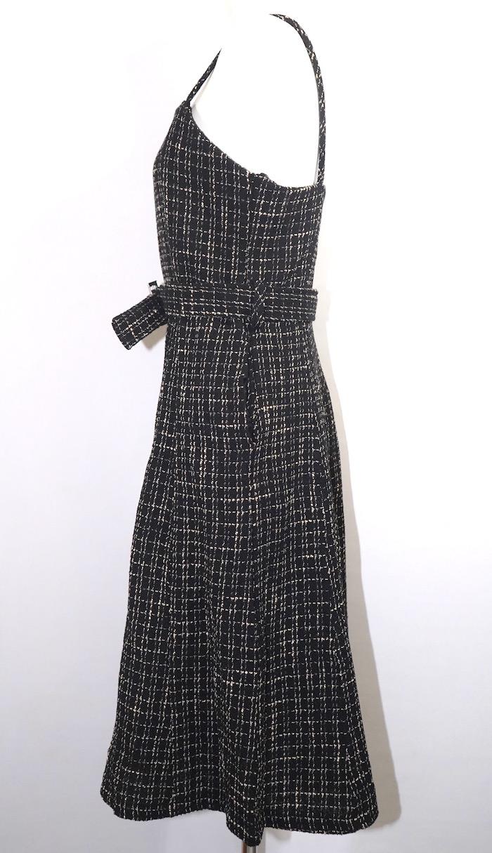 Tweed Check  Cami-Onepiece with Belt (black)
