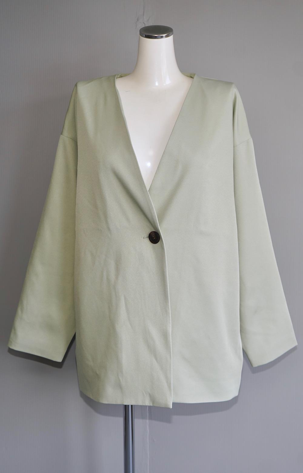 No-Collar Jacket + Slacks 2P SET UP (pale mint)