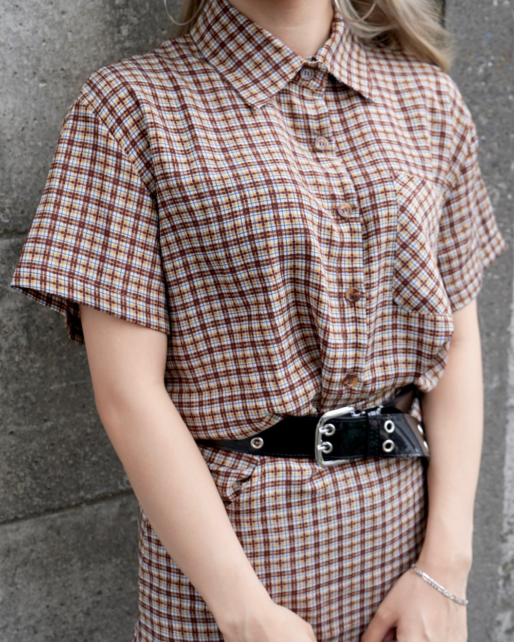 Check Shirts&Mini Skirt 2P SET UP(beige)