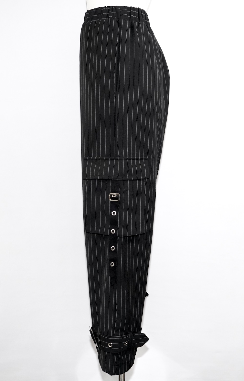 Eyelet Belt Design Cargo Pants(stripe)