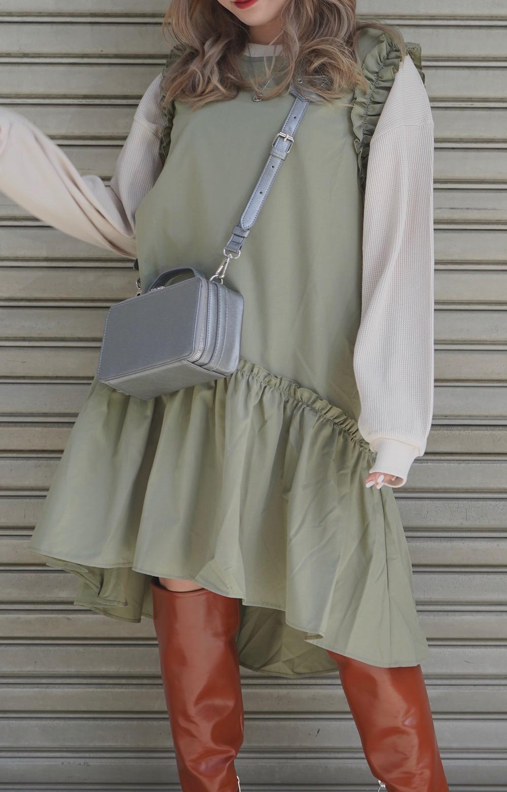 Frill Design No-sleeve Onepiece (green tea)