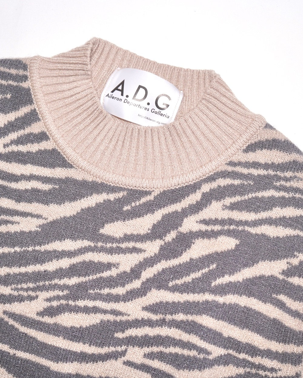 Zebra Pattern Mock Neck Knit Sweater (light beige)