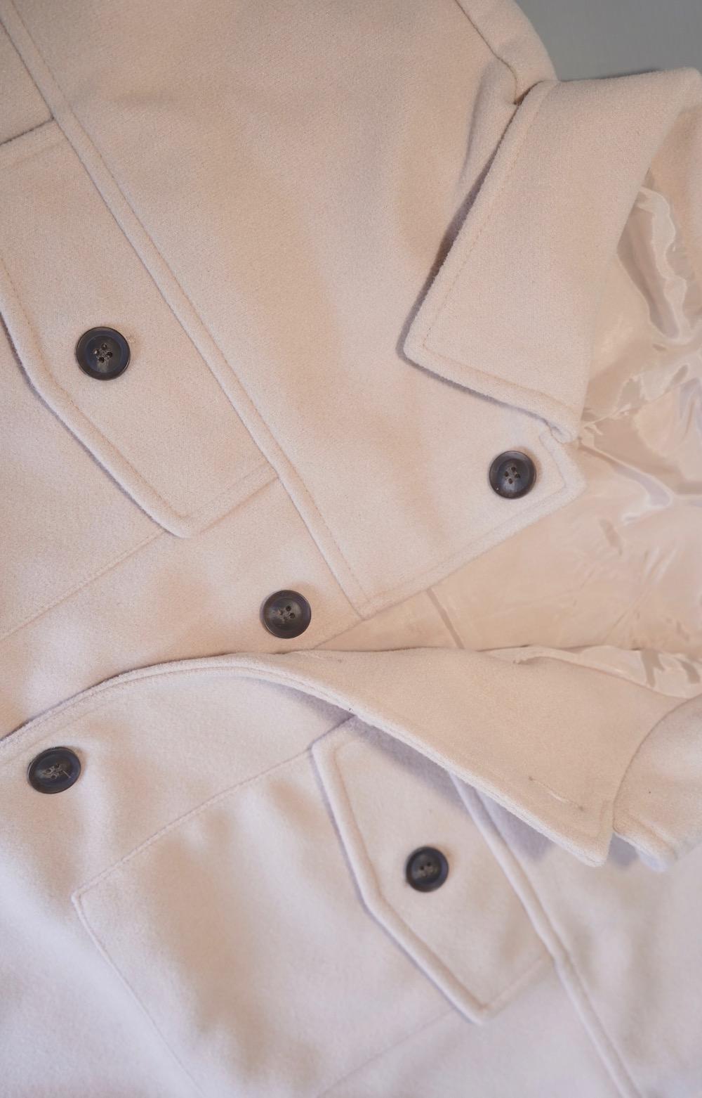 Wool Touch Long CPO Jacket Coat (ecru)