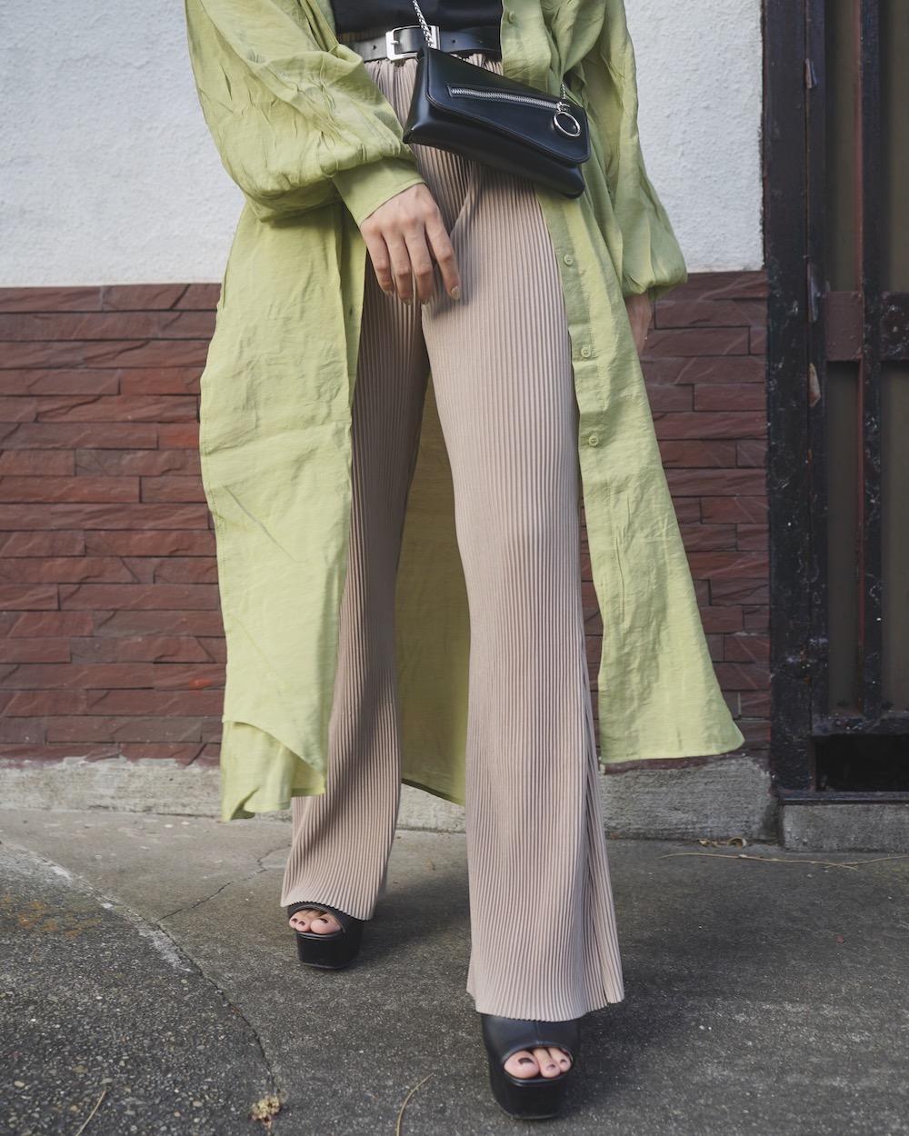 Pleats Flare Easy Pants (light beige)