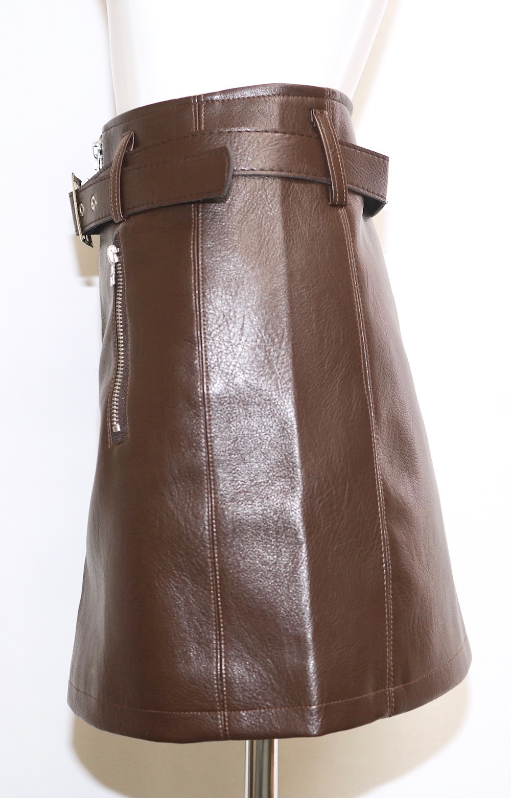 Leather Touch Mini Skirt *Belt Set (brown)