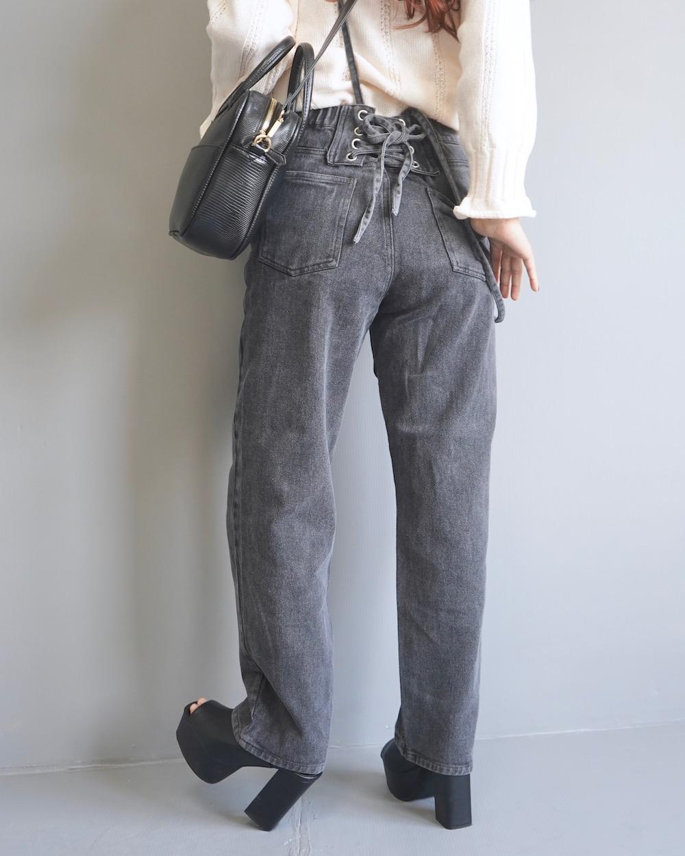 Lace-up Suspenders Black Denim Pants