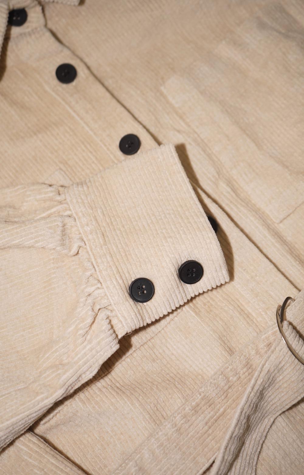 Corduroy Shirts Tunic *with Belt (ecru)